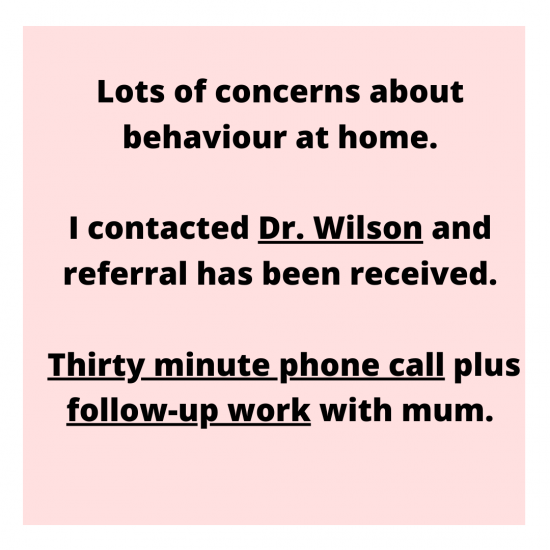 Lots of concerns about behaviour at home. I contacted Dr Wilson and referral has been received. Thirty minute phone call plus follow-up work with mum.