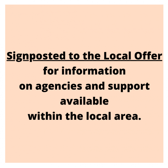 Signposted to the Local Offer for information on agencies and support available within the local area.